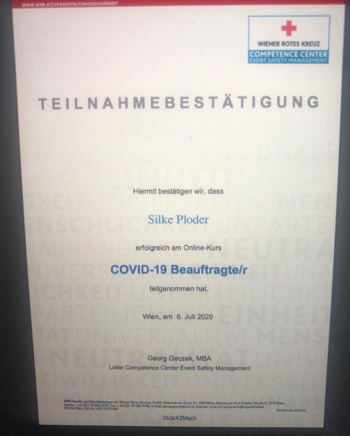 Bestätigung COVID-19 Beauftragte